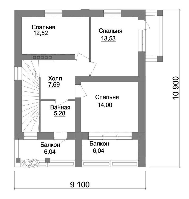 Проект современного двухэтажного дома план