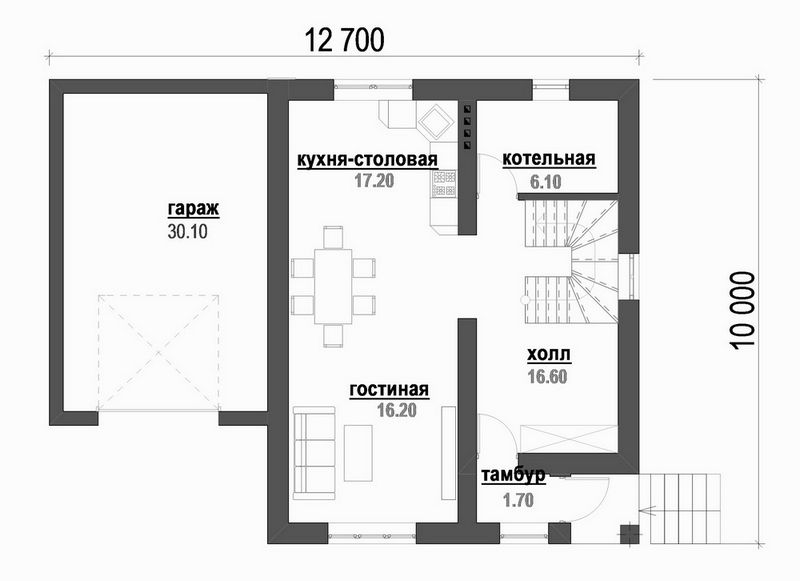 Проект одноэтажного дома с мансардой и гаражом план
