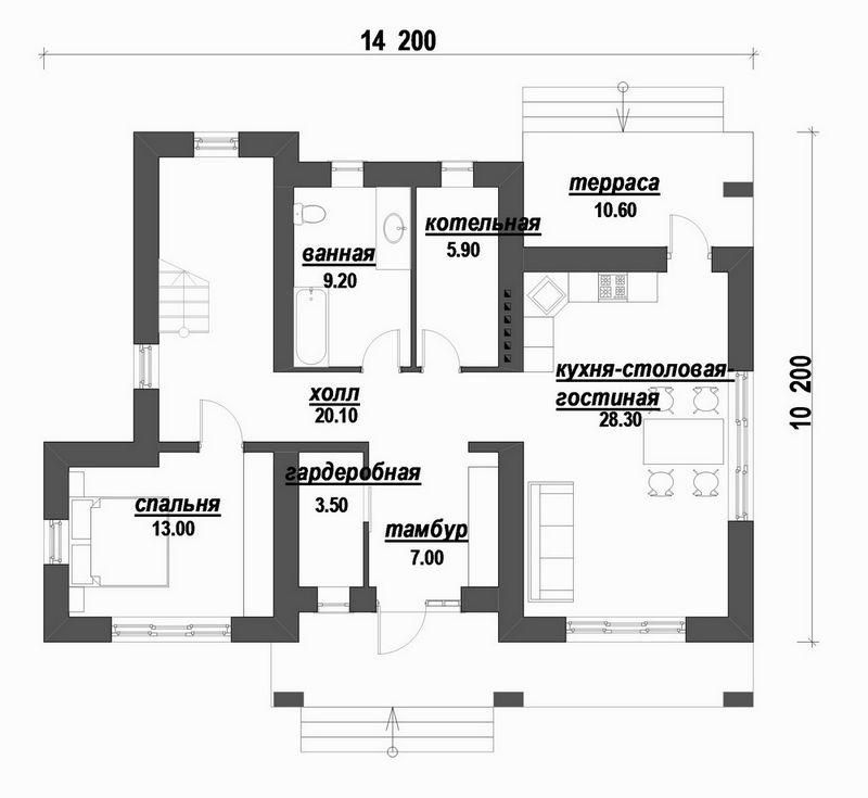 Проект двухэтажного дома с 3 спальнями план
