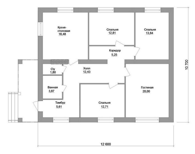 Проект одноэтажного дома с 3 спальнями план