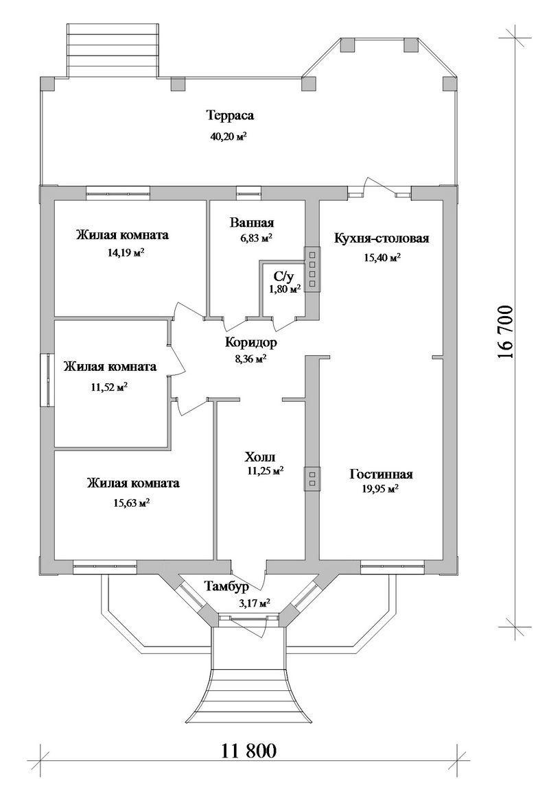 Готовый проект одноэтажного дома с 3 спальнями план