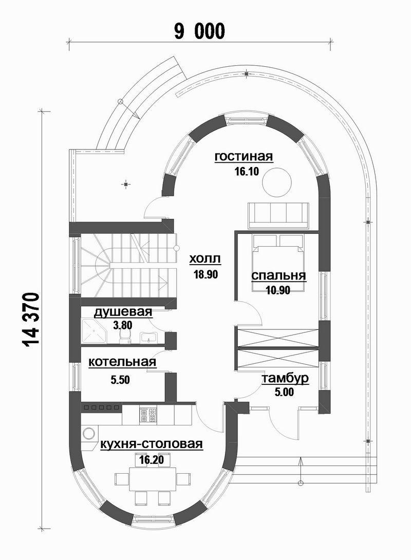 Проект двухэтажного дома с 4 спальнями и террасой план