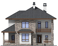 Проект кирпичного дома 42-61 фасад