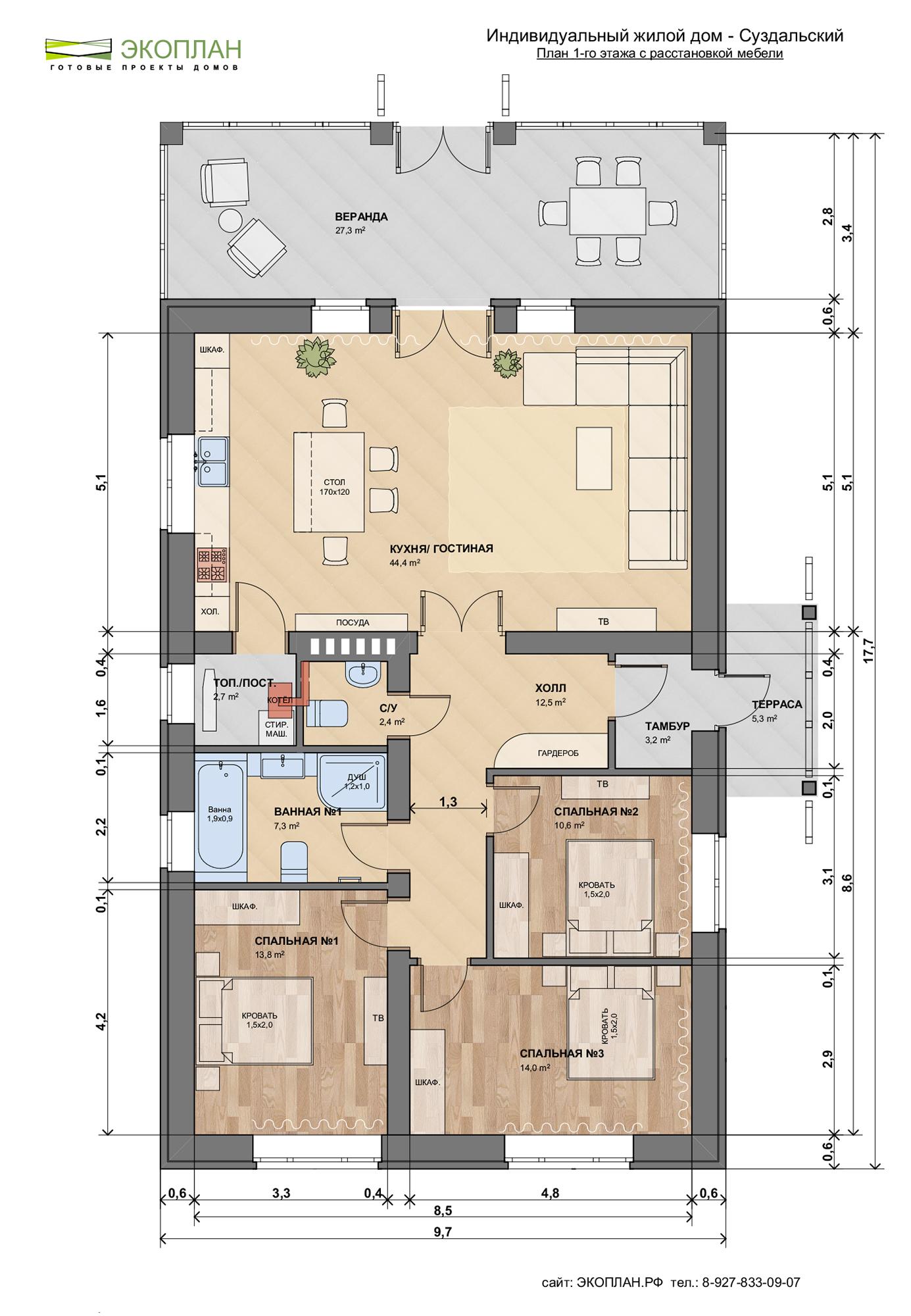 Готовый проект дома - Суздальский - Ульяновск план