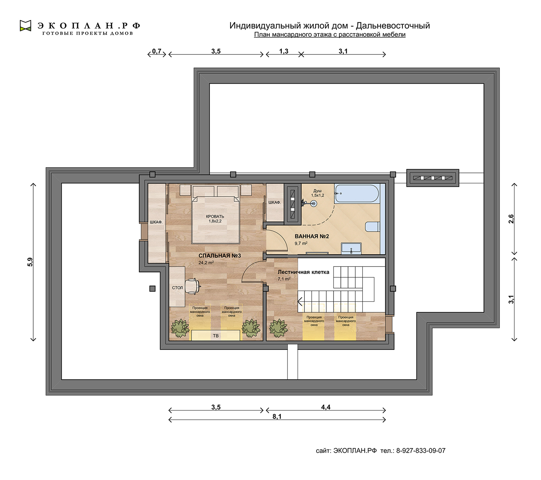 Готовый проект дома - Дальневосточный - Ульяновск план