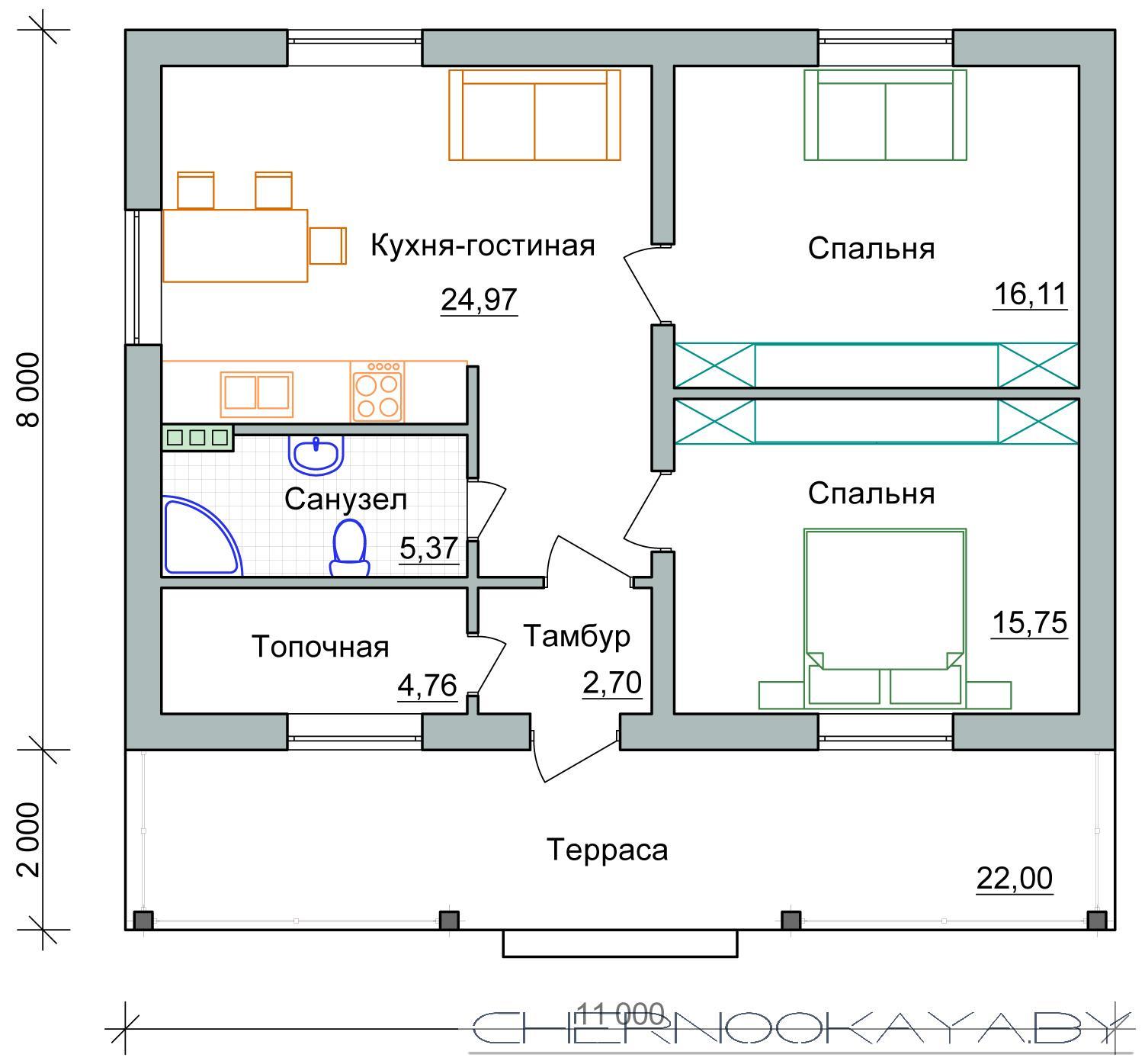 Проект дома 1550-2 одноэтажный жилой дом план