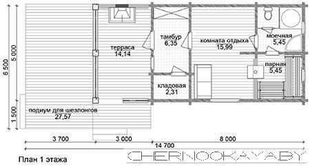 Проект деревянного дома бани 1562 план