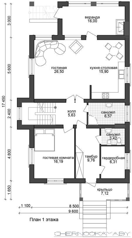 Проект дома 1533-10 с подвалом план