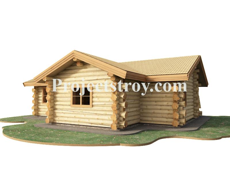 Проект деревянного одноэтажного дома - дикий сруб фасад