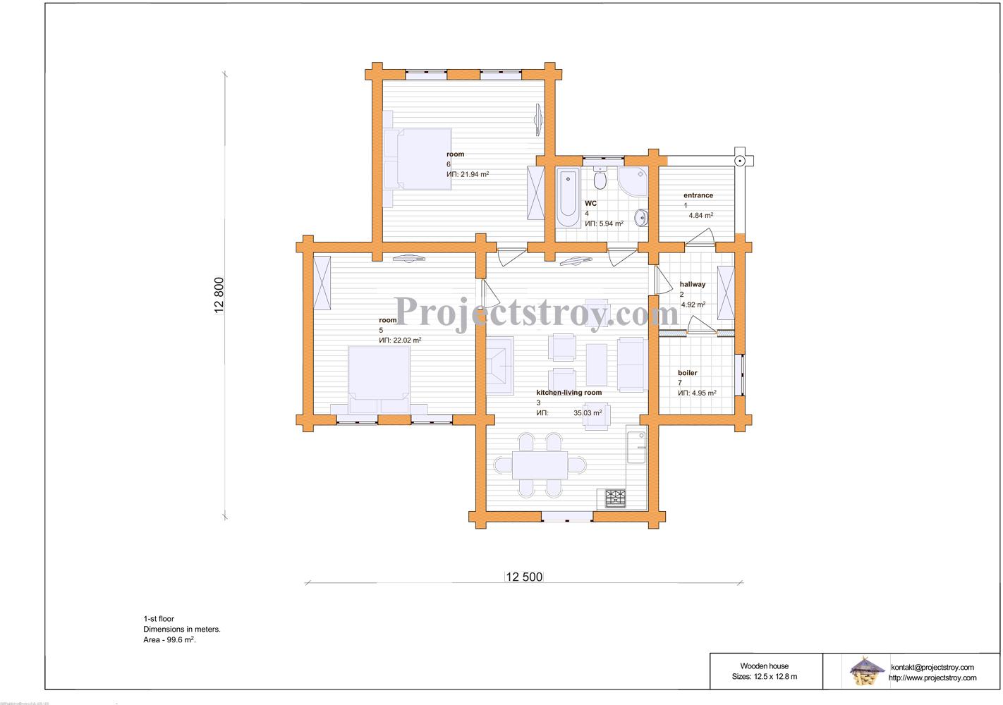 Проект деревянного одноэтажного дома - дикий сруб план