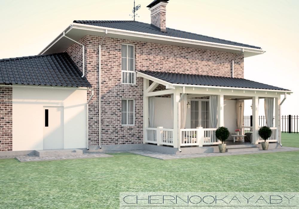 Проект дома с гаражом на 2 машины №1579 фасад