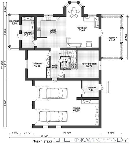 Проект дома с гаражом на 2 машины №1579 план