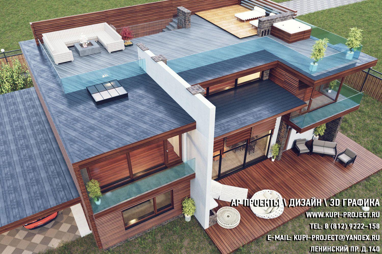 АР Проект Дома Хай-тек 25х15 фасад