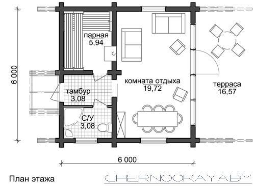 Проект деревянной бани 6*6 метров №1590 план