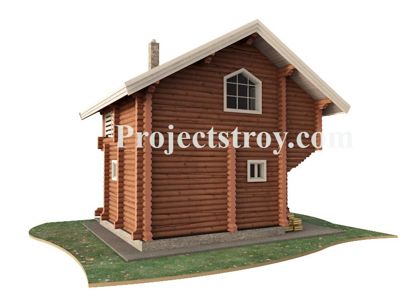 Проект двухэтажной деревянной бани из бревна 220 фасад