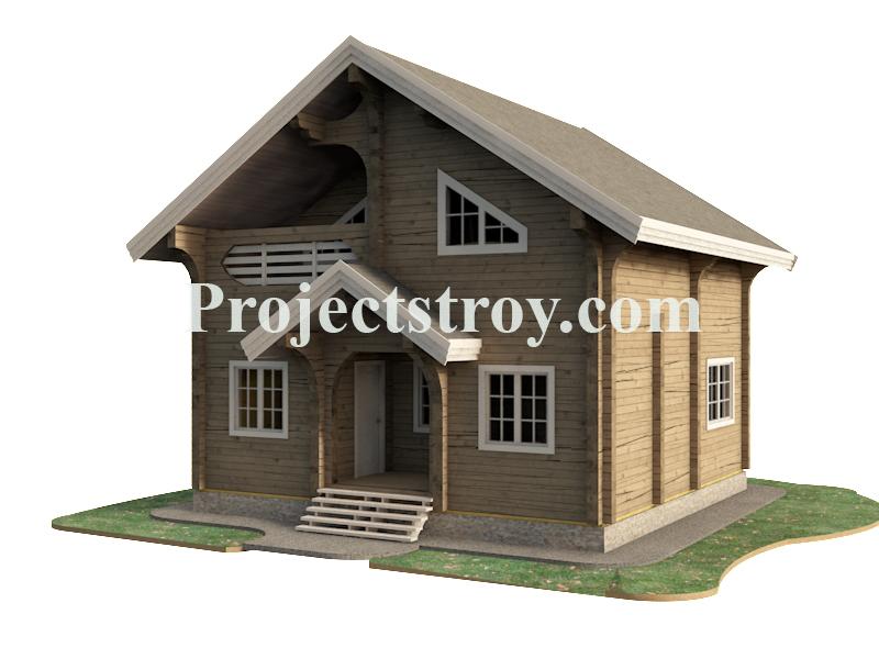 Проект деревянного дома из бруса 8 на 8 метров фасад