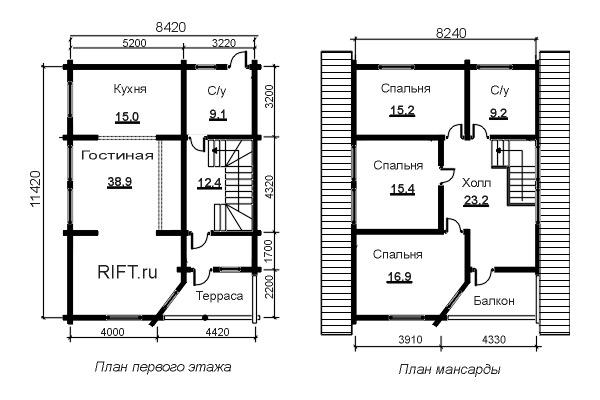 дом 11,5х8,5  план