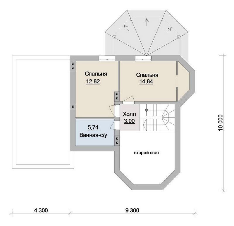 Проект одноэтажного дома с мансардой и 3 спальнями план