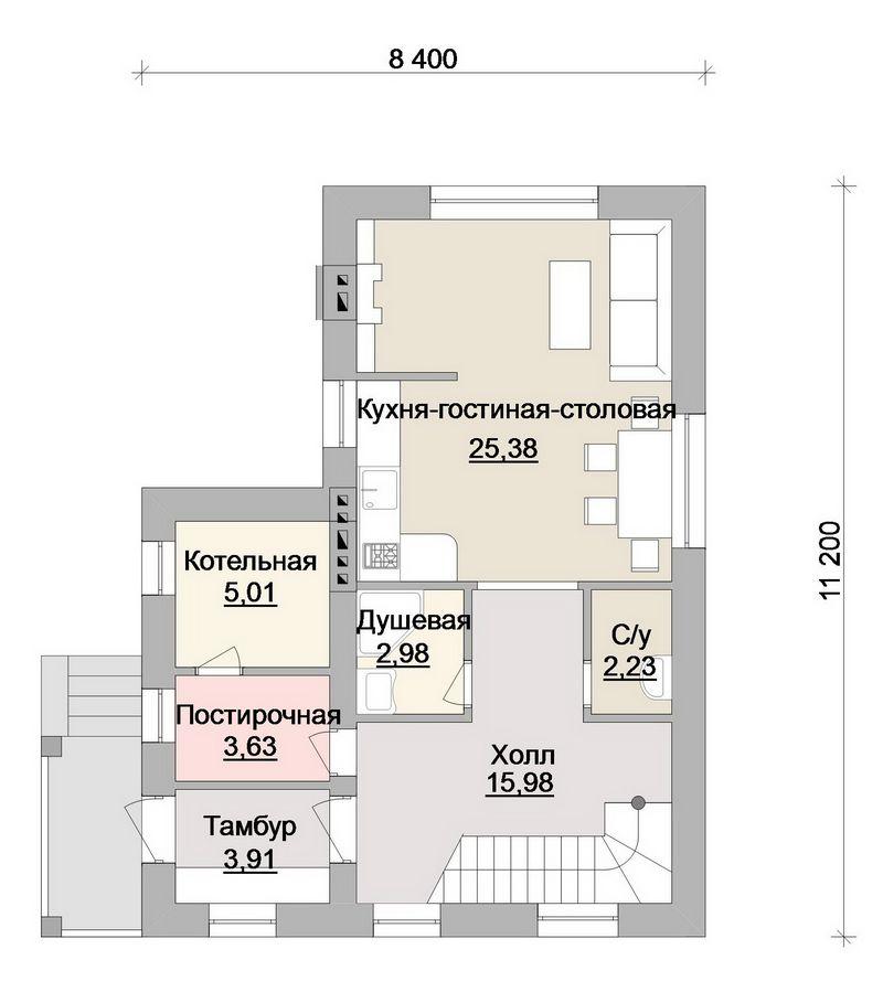 Проект двухэтажного дома с 2 спальнями, гостиной план