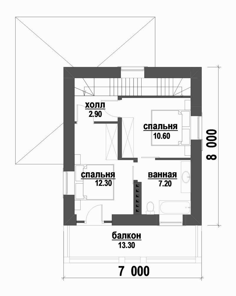 Проект двухэтажного дома с цокольным этажом план