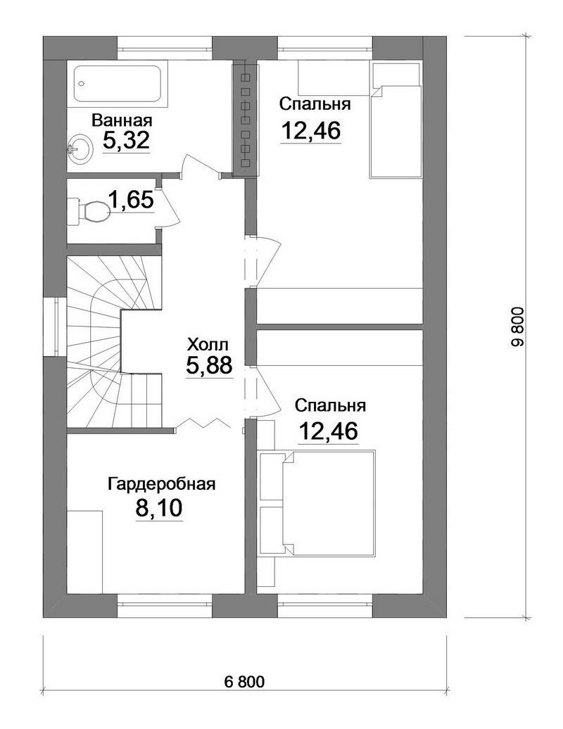 Готовый проект одноэтажного дома с мансардой план