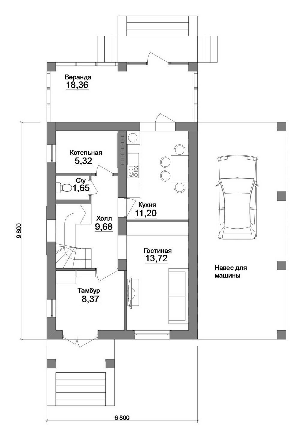 Проект одноэтажного дома с мансардой, 2 спальни план