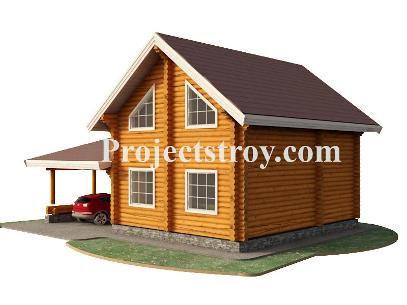 Дом из бревна с навесом под автомобиль 12 х 9 м фасад
