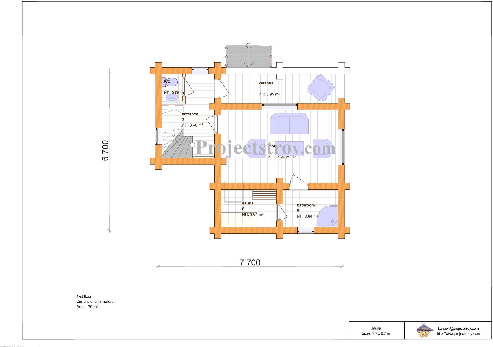 Сруб двухэтажной бани из бревна 7.7 х 6.7 м план