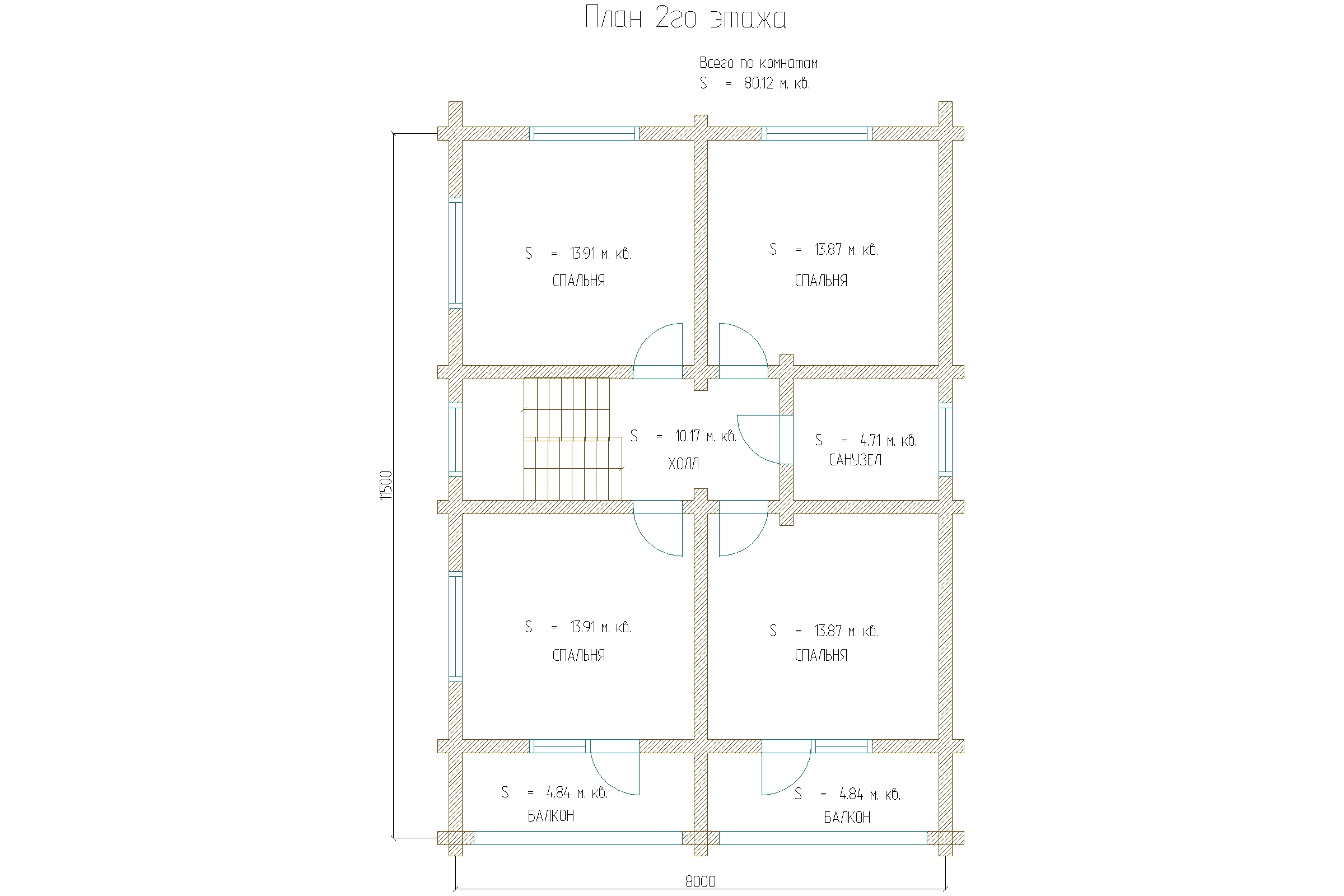 Проект двухэтажного дома 200м2 план