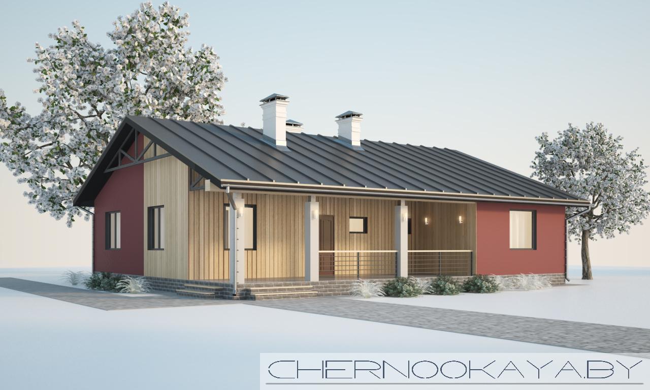Проект одноэтажного дома №1574 фасад