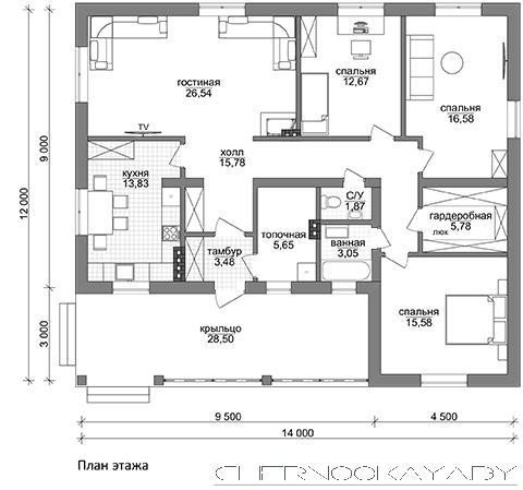 Проект одноэтажного дома №1574 план