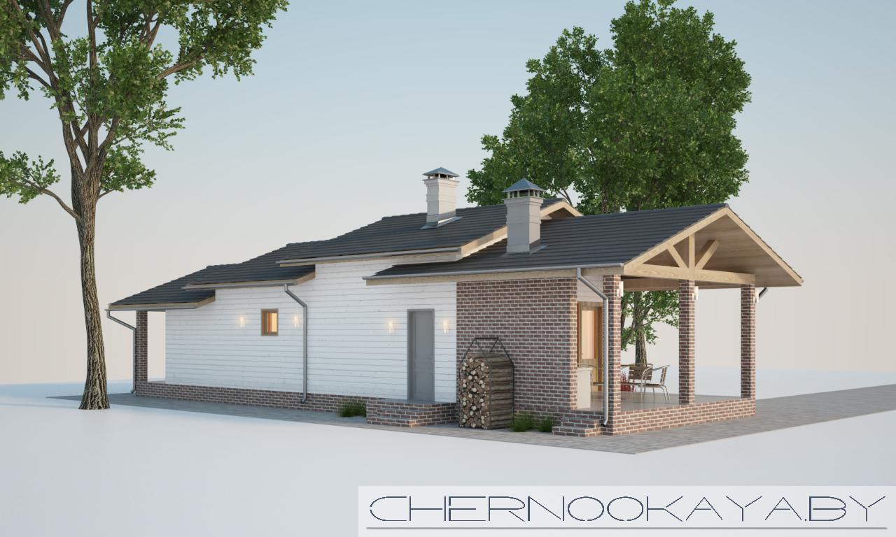 Проект банного комплекса с барбекю №1591 фасад