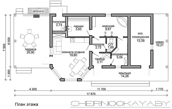 Проект банного комплекса с барбекю №1591 план