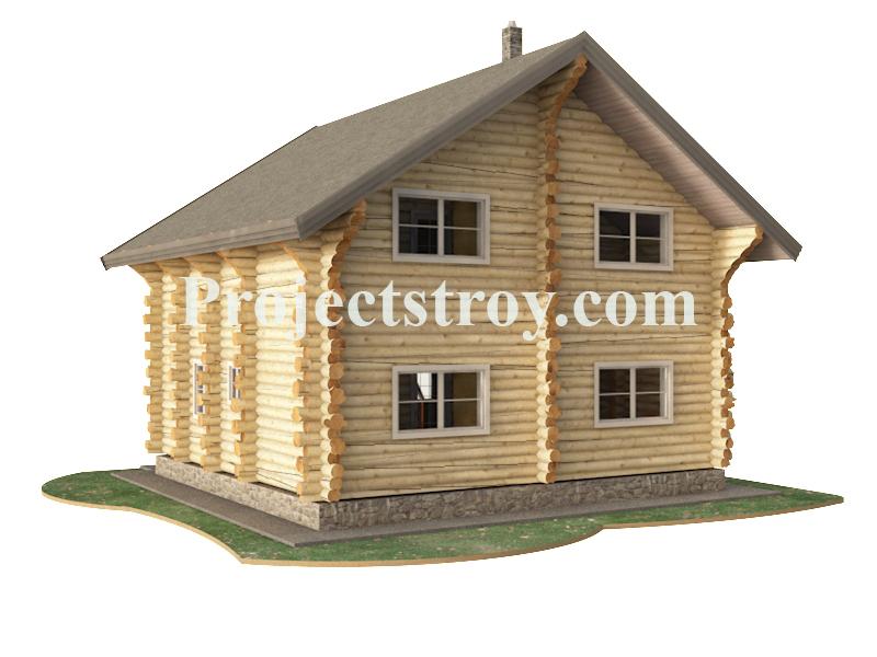 Деревянный дом 9.5 х 9 м - дикий сруб фасад