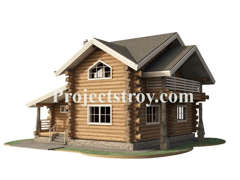 Баня дом из дикого бревна 10.4 х 10.5 м фасад