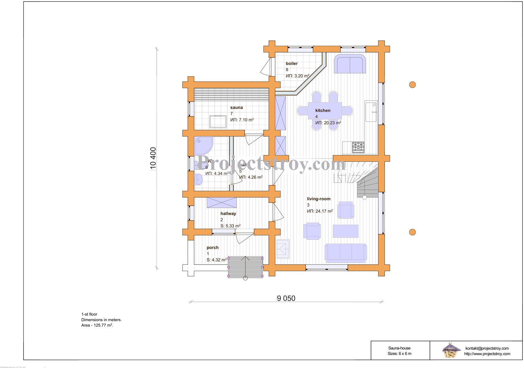 Баня дом из дикого бревна 10.4 х 10.5 м план