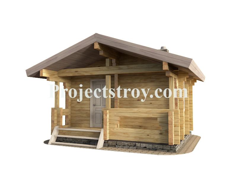 Бесплатно проект для строительства бани 5 х 4 м. фасад