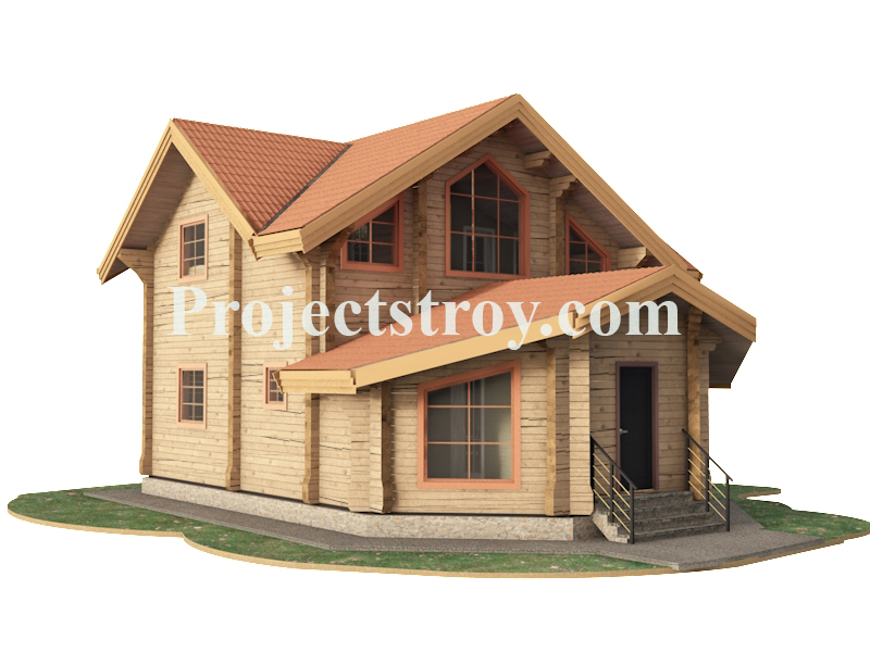 Дачный дом из бруса 10 х 10.6 м фасад
