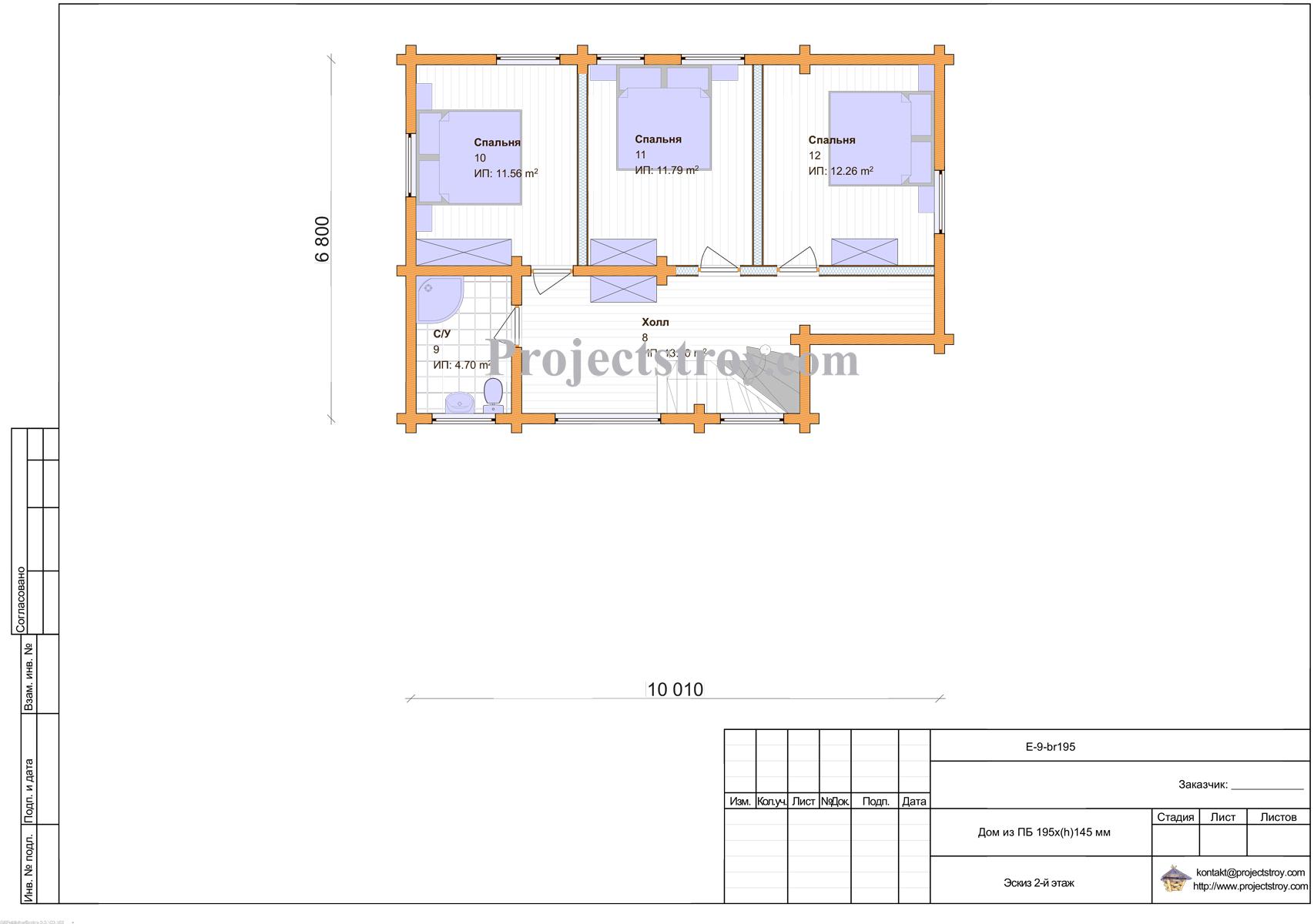 Дачный дом из бруса 10 х 10.6 м план