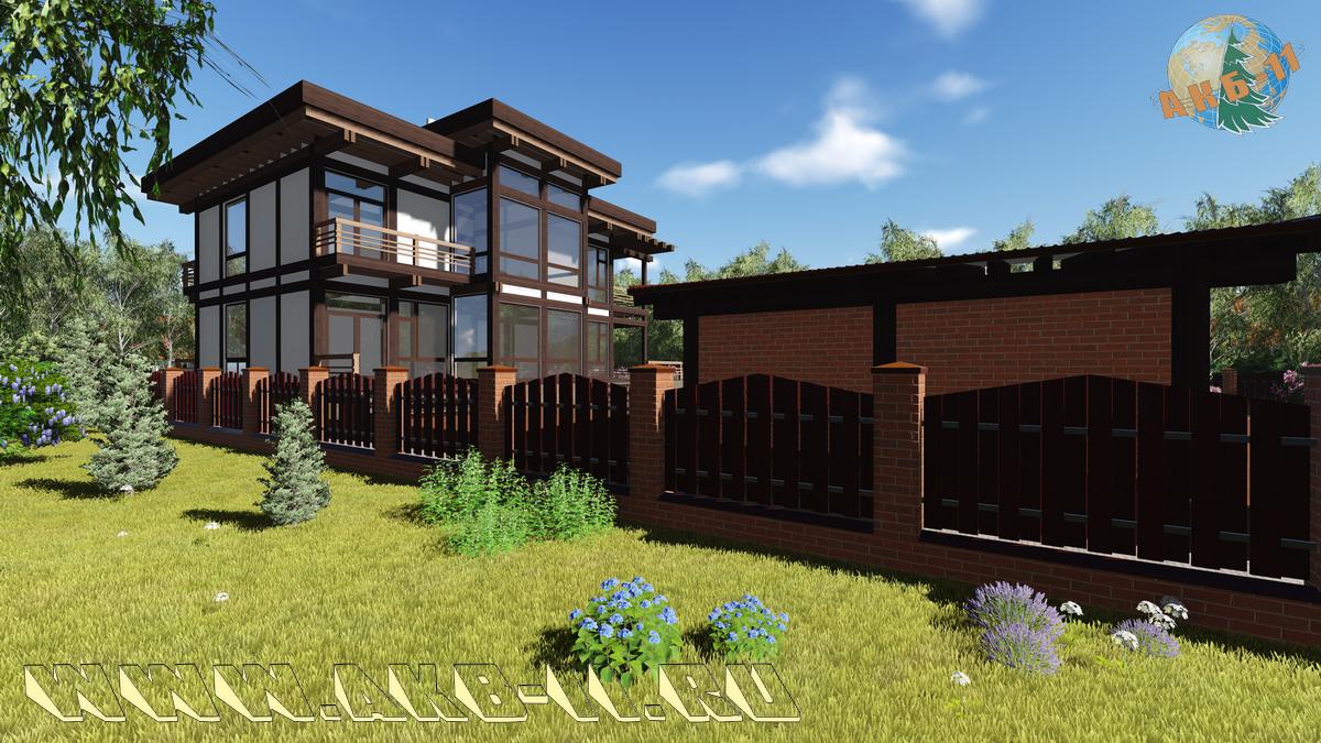Двухэтажный дом по технологии фахверк КФ-262 фасад