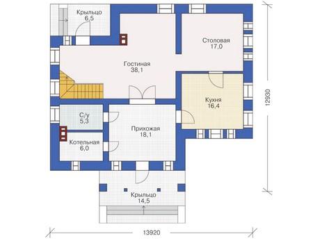 Проект кирпичного дома 36-95 план