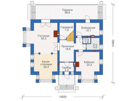 Проект кирпичного дома 37-09 план