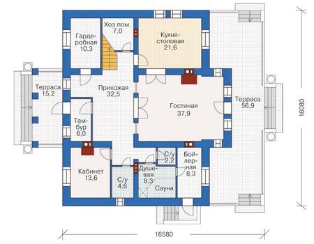 Проект кирпичного дома 37-11 план