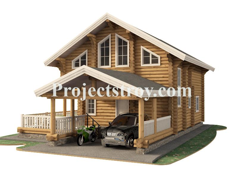 Дом из бревна 260 мм с навесом под авто - сауной  фасад