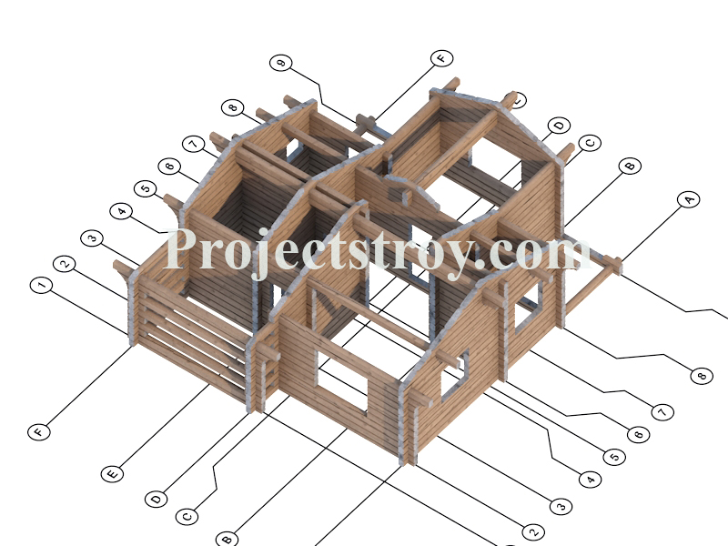 Одноэтажный деревянный дом из лафета с баней фасад