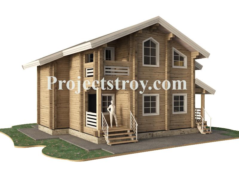 Деревянный дом из бруса клееного 9.8 х 9 метров. фасад