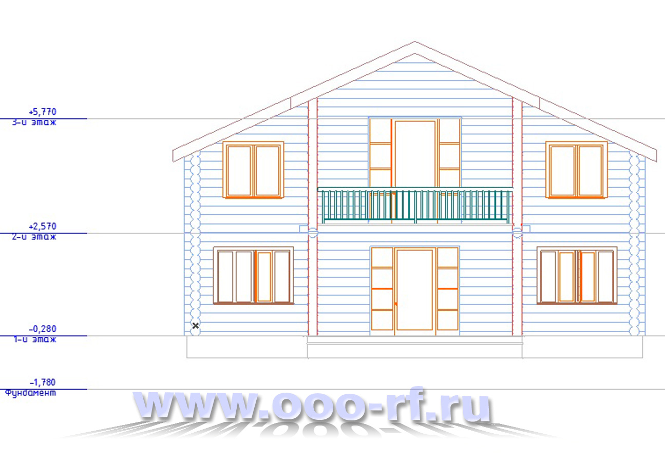 """Дом и цилиндрического бруса """"Анимадо"""" фасад"""