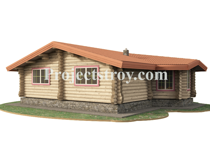 Одноэтажный бревенчатый дом из ОЦБ - 11.2х9.7 м фасад