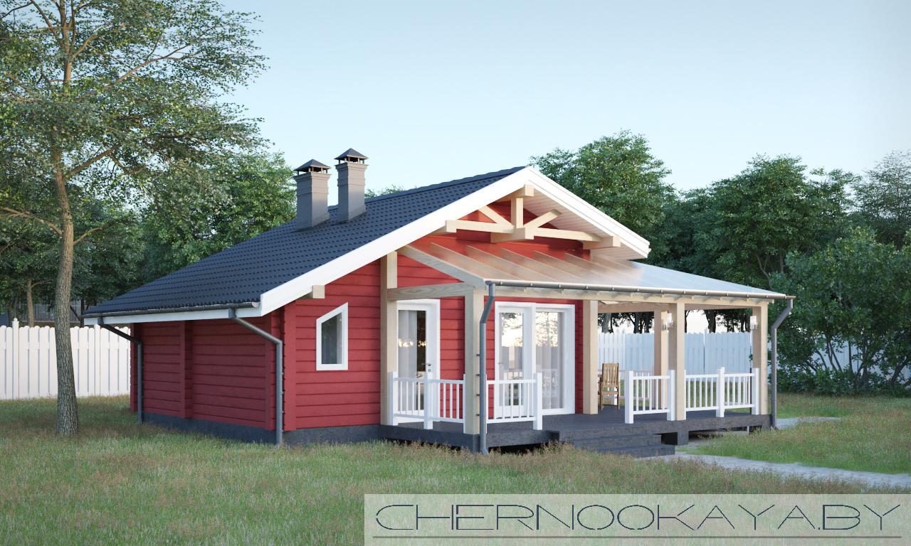 Проект деревянной бани №1584 фасад