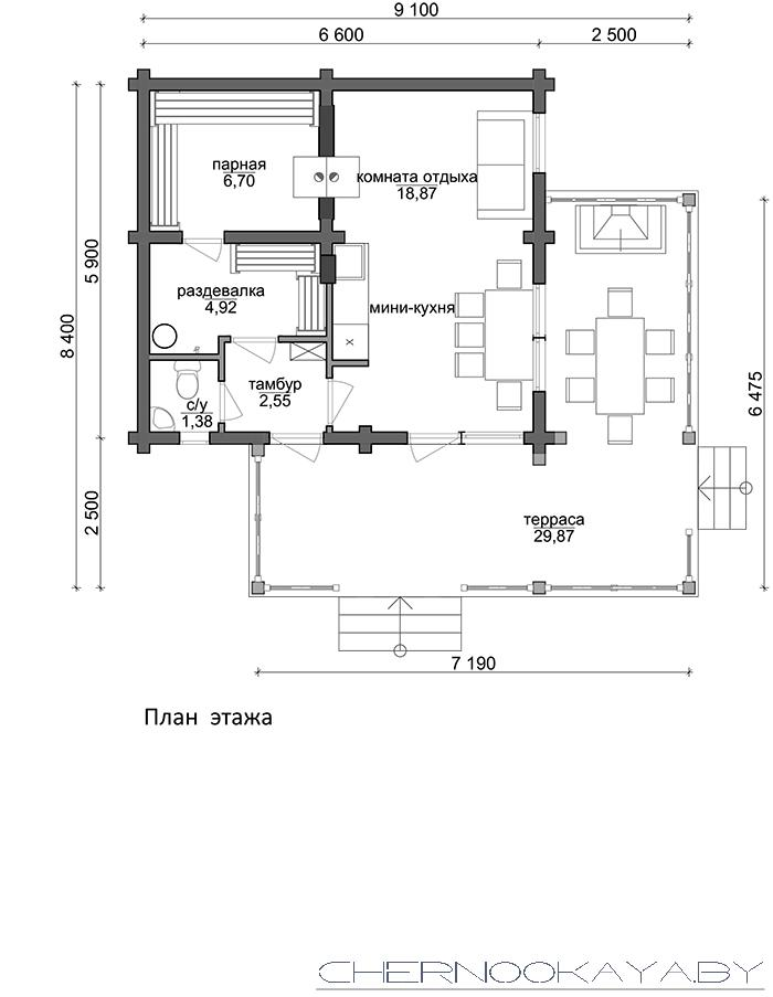Проект деревянной бани №1584 план